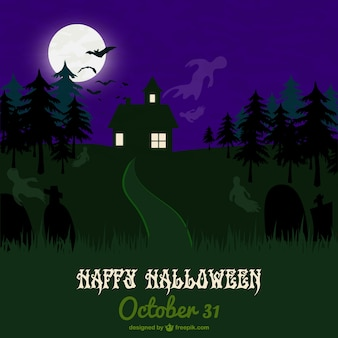 Haunted forest halloween card