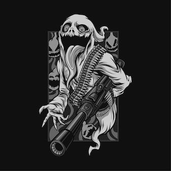 幽霊の幽霊の火のハロウィーンの黒と白のイラスト