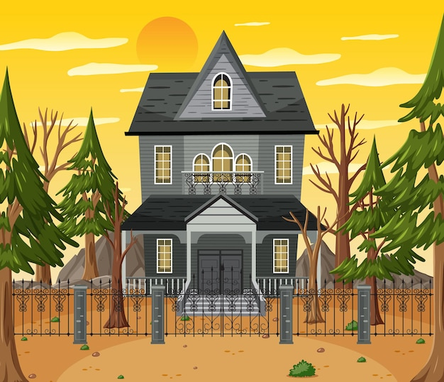 Особняк хэллоуина с привидениями в дневное время