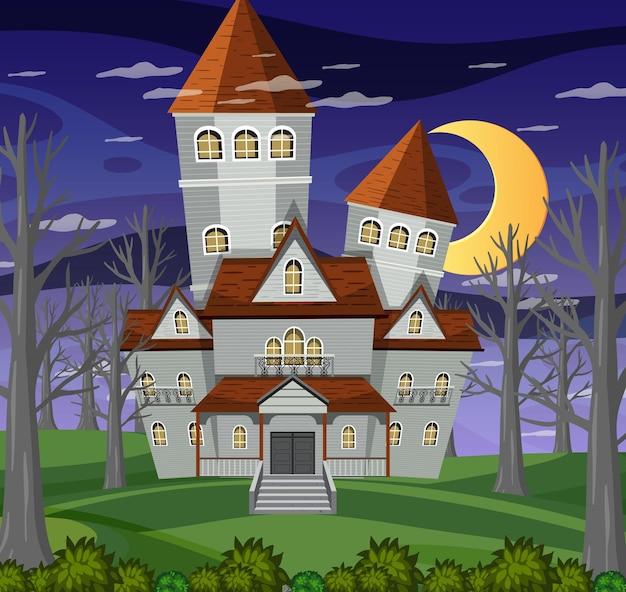 Особняк хэллоуина с привидениями ночью