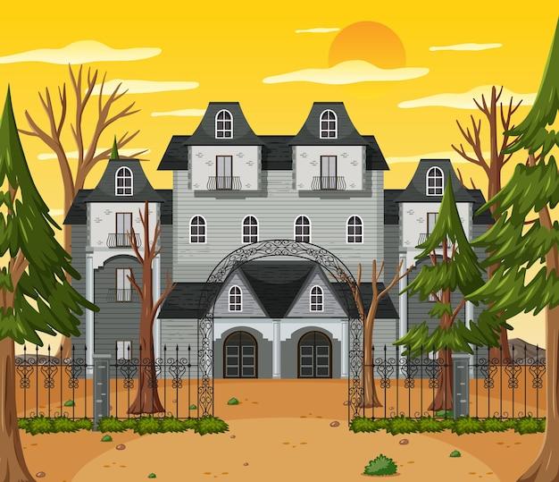 Haunted halloween mansion at daytime