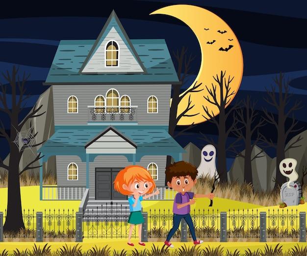Haunted halloween mansion at night
