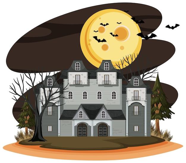 Дом с привидениями в ночной сцене