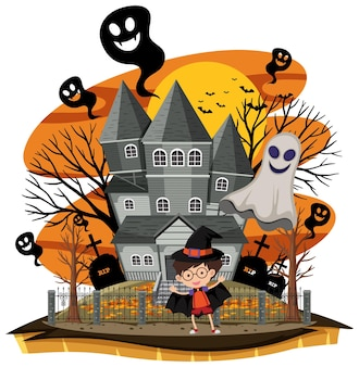 Haunted house in cartoon style
