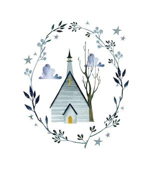 Дом с привидениями темная ночь в шаблоне плаката цветочной рамки