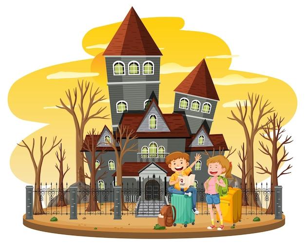 Haunted house at daytime scene