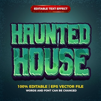 Haunted house editable text effect cartoon comic game 3d style template