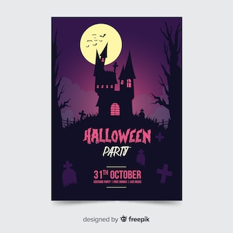 Haunted house halloween party poster template