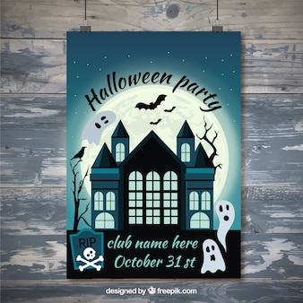 Haunted house halloween poster with ghosts