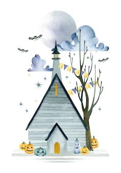 Дом с привидениями хэллоуин тыквы шаблон плаката ночь полнолуния