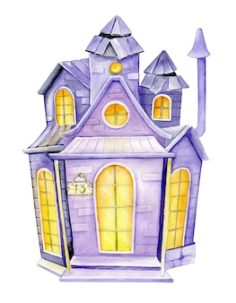 Haunted house hand drawing cartoon style. watercolor drawing, a symbol of halloween day.