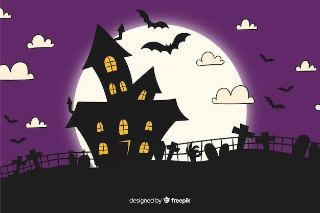 Haunted house hand drawn halloween background