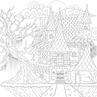 Дом с привидениями, счастливого хэллоуина. иллюстрация