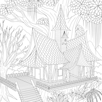 Haunted house, happy halloween .  illustration