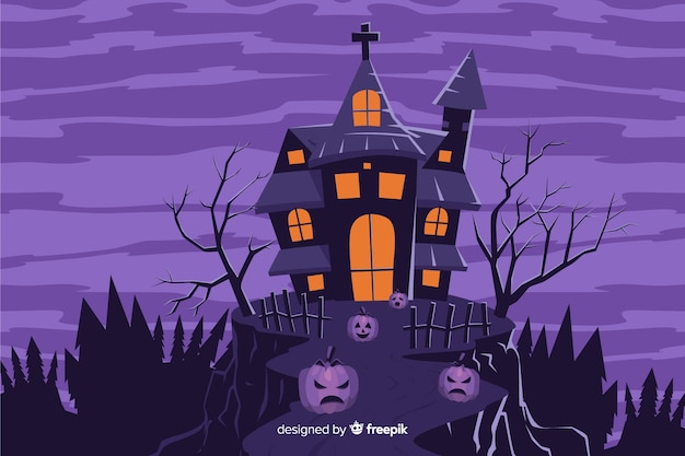 Haunted house on a hill background