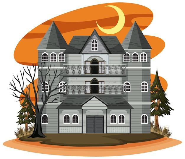 Дом с привидениями в мультяшном стиле