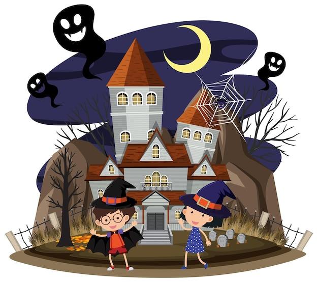 Haunted house at night scene