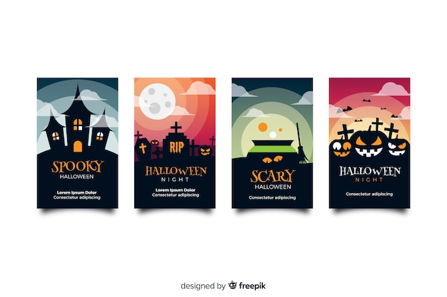 Haunted house and pumpkins halloween instagram stories collection