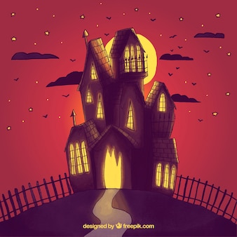 Haunted house watercolor background in redish tones