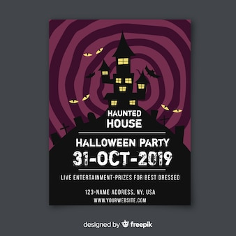 Haunted house with bats halloween flyer template