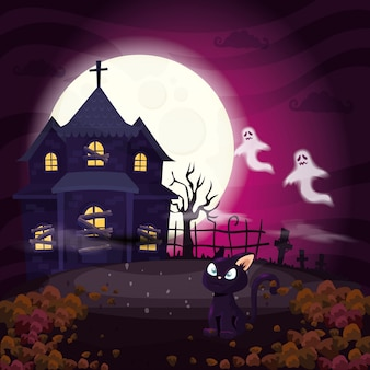 Haunted house with cat in scene halloween illustration
