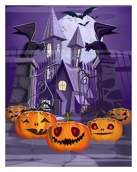 Дом с привидениями с изображением ворот и тыкв