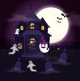 Haunted house with ghosts in scene halloween illustration