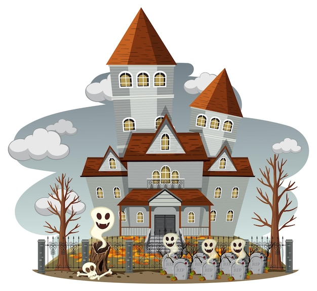 Haunted house with grey sky