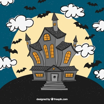 Haunted house with hand drawn style