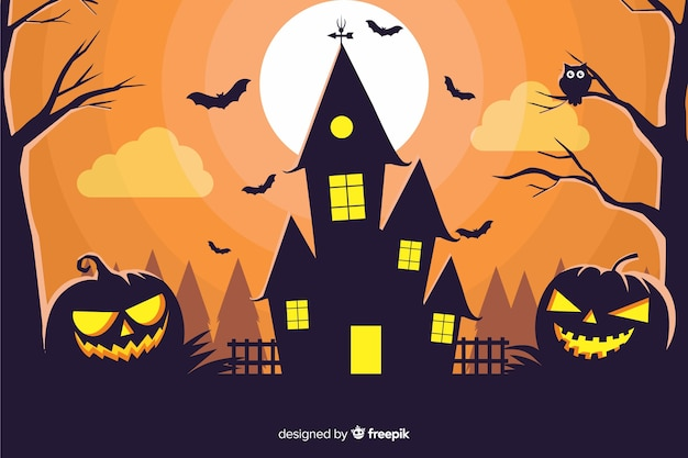 Haunted house with pumpkins background