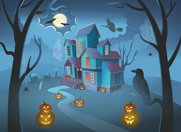 Haunted house with pumpkins,