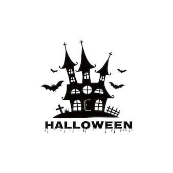 Дома с привидениями для хэллоуина замки с монстрами черный дом сита векторная иллюстрация для детей
