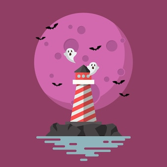 Haunted lighthouse with moon on background.   illustration