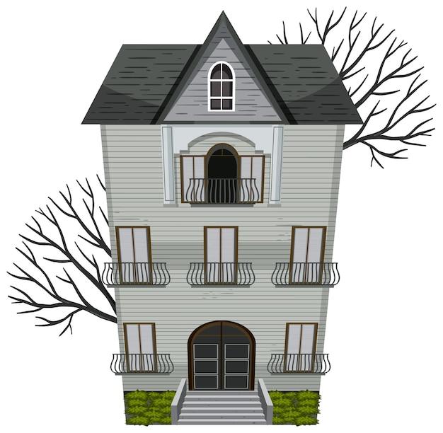Дом с привидениями, здание на белом фоне