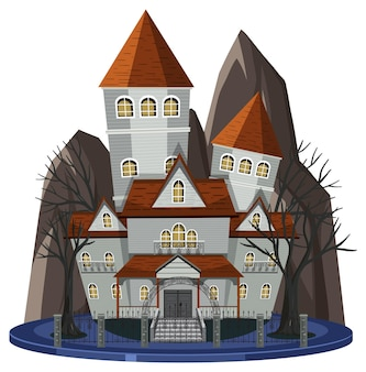 Haunted mansion exterior on white background