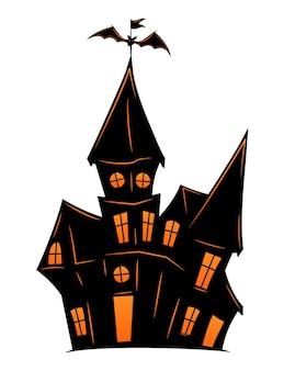 Старый дом с привидениями на хэллоуин. векторный силуэт страшного старого дома. мистический жуткий дом с летучей мышью. черный замок хэллоуина.
