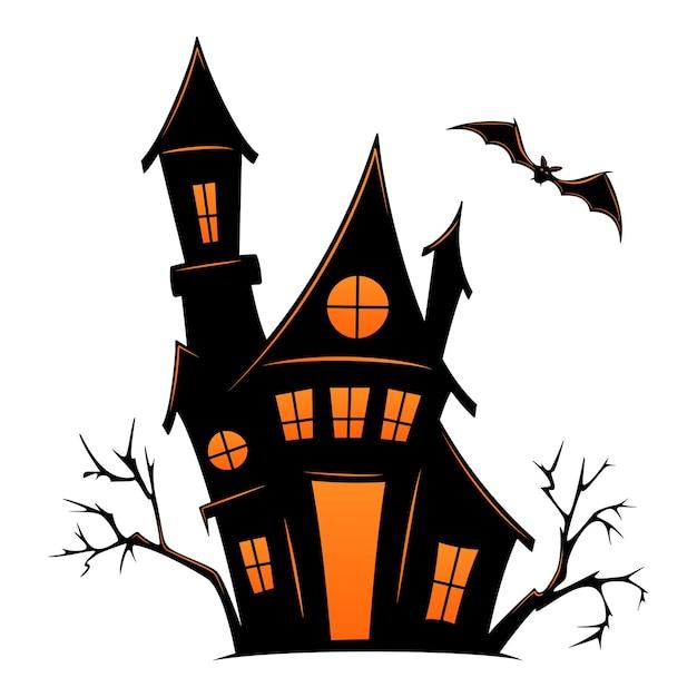 Старый дом с привидениями на хэллоуин. векторный силуэт страшного старого дома. мистический жуткий дом с монстрами и привидениями. черный замок хэллоуина.