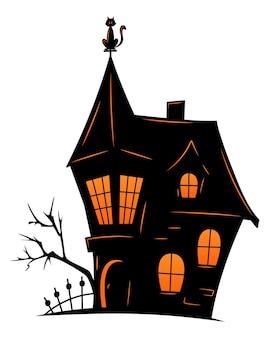 할로윈을 위한 유령의 오래된 집. 무서운 오래 된 집의 벡터 실루엣입니다. 시든 나무, 묘지, 검은 고양이가 있는 신비로운 으스스한 집.