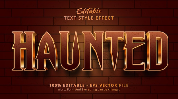Haunted text on movie style effect, editable text effect