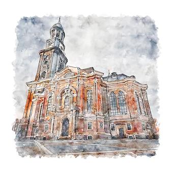 Hauptkirche聖ミヒャエルドイツ水彩スケッチ手描きイラスト