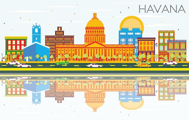 Havana skyline with color buildings, blue sky and reflections. vector illustration. business travel and tourism concept with historic architecture. image for presentation banner placard and web site.