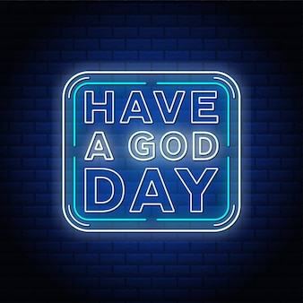 青いレンガの壁に神の日のネオンテキストサインを入れてください。