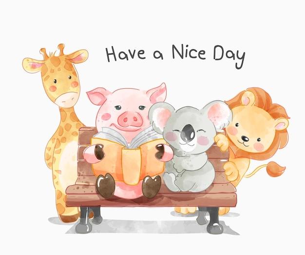 ベンチのイラストでかわいい動物と一緒に良い一日のスローガンを持っています