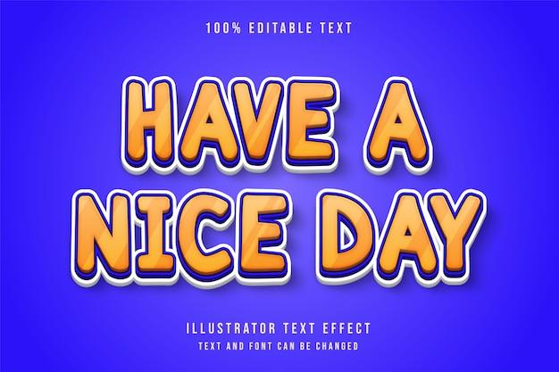 좋은 하루 되세요, 3d 편집 가능한 텍스트 효과.