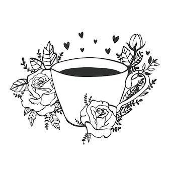 ごきげんよう。コーヒーのポスターを取ります。黒板に一杯のコーヒーのシルエット。