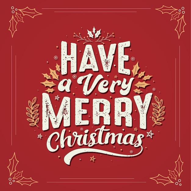 とてもメリー クリスマス、美しいクリスマスのグリーティング カードのデザインがあります。