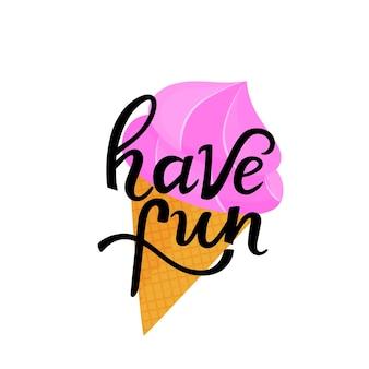 와플 콘에 아이스크림을 넣은 손으로 그린 글자를 즐겨보세요. 티셔츠 디자인으로 사용할 수 있습니다.