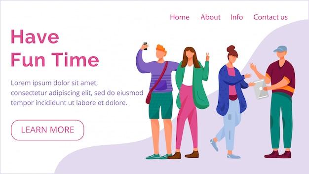 즐거운 시간 방문 페이지 템플릿을 보내십시오. 평면 일러스트와 함께 millennials 웹 사이트 인터페이스 아이디어. 블로깅 홈페이지 레이아웃. 청소년 라이프 스타일 웹 배너, 웹 페이지 만화 개념