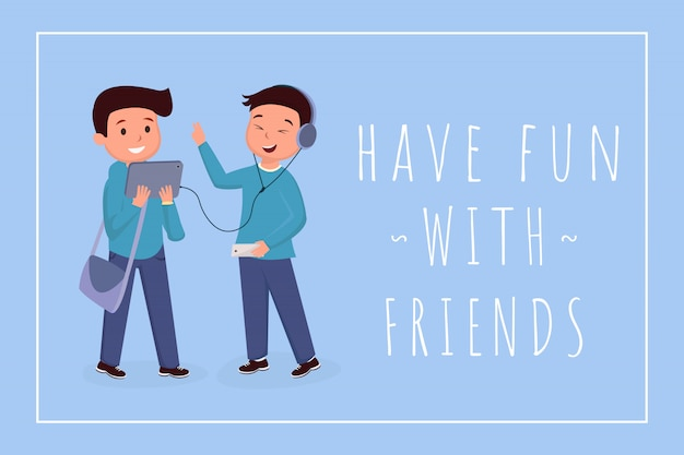 Have fun with friends banner template. classmates, teens color illustration with typography