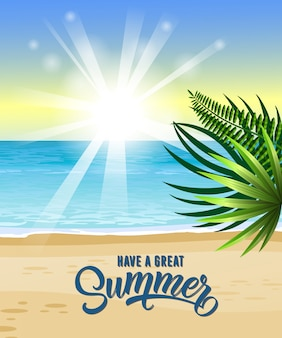 Have great summer greeting with sea, tropical beach, sunrise and palm leaves